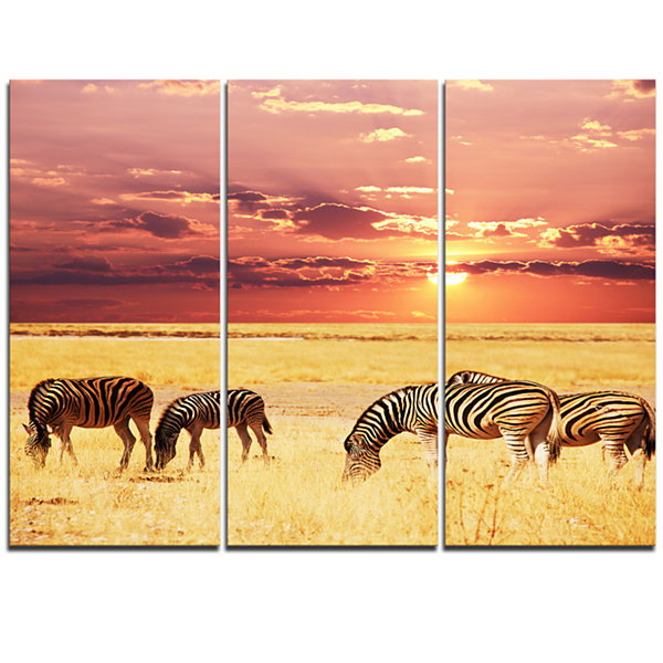 Designart Zebras Grazing Together At Sunset ModernLandscape Wall Art Triptych Canvas