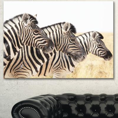 Designart Zebras In A Row In Grassland African Wall Art Print - 3 Panels