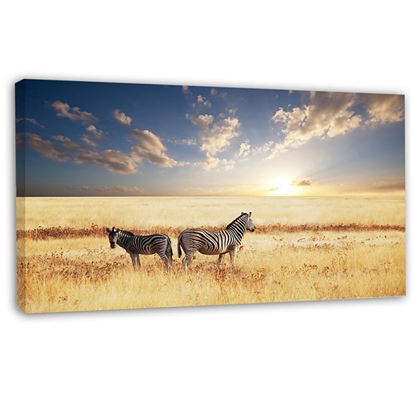 Designart Zebras In Beautiful Grassland At SunsetExtra Large African Canvas Art Print