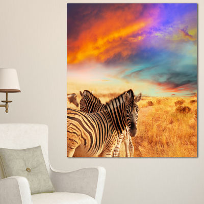 Designart Zebras In Bush Under Colorful Sky African Canvas Art Print