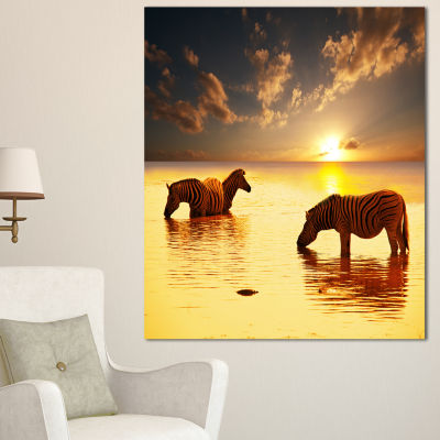 Design Art Zebras In Water At Sunset African CanvasArt Print