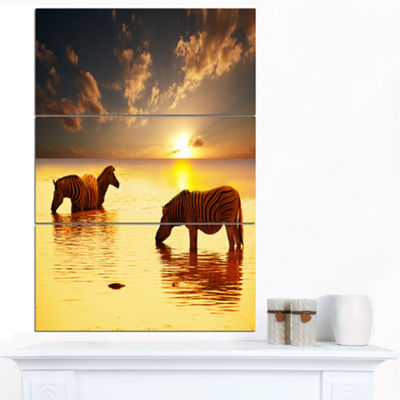 Designart Zebras In Water At Sunset African CanvasArt Print - 3 Panels