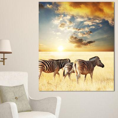 Designart Zebras Walking In African Grassland African Wall Art Print - 3 Panels