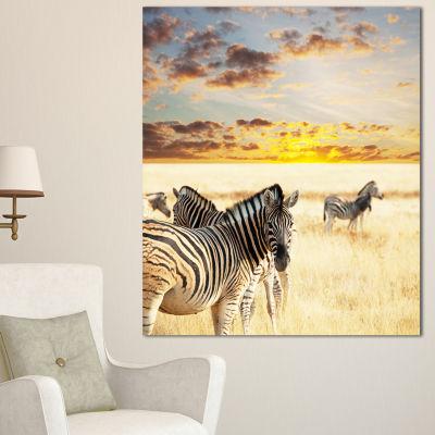Designart Zebras Walking In Bush Under Clouds African Canvas Art Print - 3 Panels