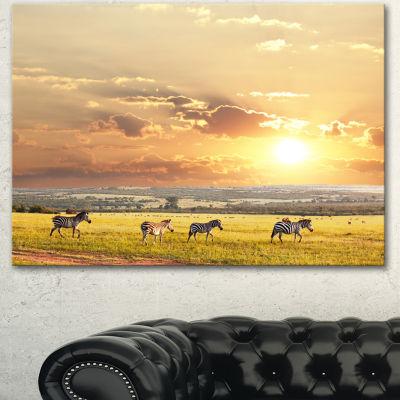 Design Art Zebras Wandering In African Prairie Oversized Landscape Canvas Art