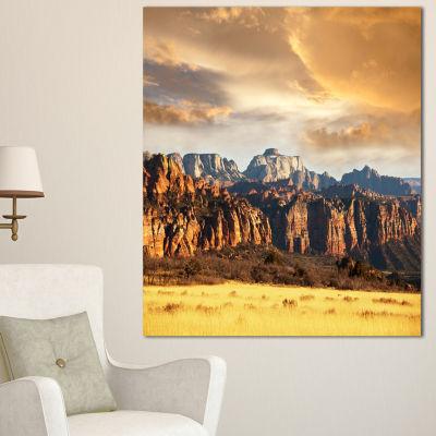 Designart Zion National Park Utah Usa Oversized Landscape Canvas Art - 3 Panels