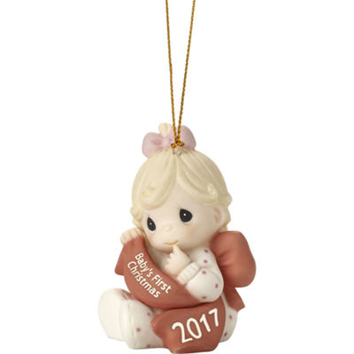 "Precious Moments  ""Baby's First Christmas 2017""  Dated 2017  Bisque Porcelain Ornament  Girl#171005"