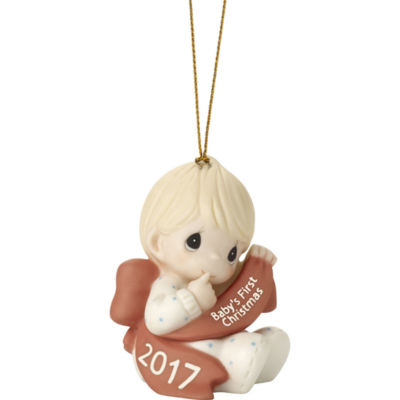 """Precious Moments  """"Baby's First Christmas 2017""""  Dated 2017  Bisque Porcelain Ornament  Boy  #171006"""