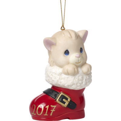 """Precious Moments  """"Have A Pawsitively Soleful Christmas""""  Dated 2017  Bisque Porcelain OrnamentCat  #171007"""