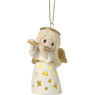 "Precious Moments  ""Make A Joyful Noise""  Lighted Bisque Porcelain Ornament  #171024"