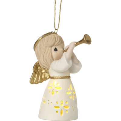 """Precious Moments  """"Make Music From The Heart""""Lighted Bisque Porcelain Ornament  #171025"""