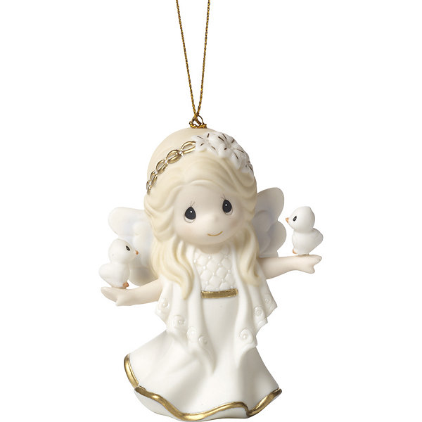 "Precious Moments  ""In His Perfect Peace And Love""  Seventh in Annual Angel Series  Bisque Porcelain Ornament  #171028"