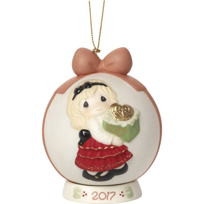 "Precious Moments  ""May The Gift Of Love Be YoursThis Season""  Dated 2017  Bisque Porcelain Ball Ornament with Base  #171003"
