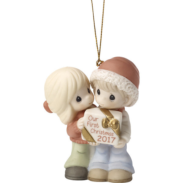 "Precious Moments ""Our First Christmas Together"" Dated 2017 Bisque Porcelain Ornament #171004"
