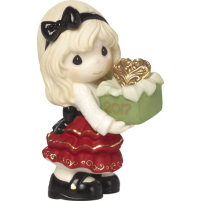 """Precious Moments """"May The Gift Of Love Be Yours This Season"""" Dated 2017 Bisque Porcelain Figurine #171001"""