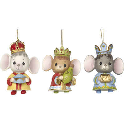 "Precious Moments  ""The Holidays Are Mice With You""  Set Of Three Bisque Porcelain Ornaments  #171064"