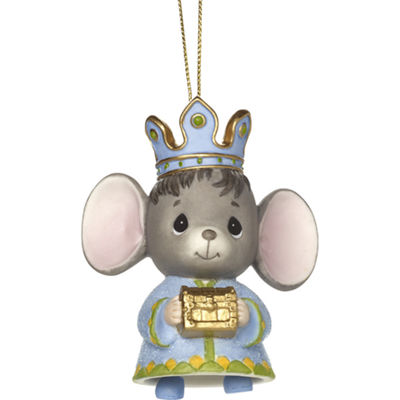 "Precious Moments  ""The Holidays Are Mice With You""  Bisque Porcelain Ornament  Mouse With Gold#171062"