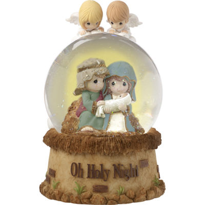"Precious Moments  ""Oh Holy Night""  Musical Resin/Glass Snow Globe  #171104"