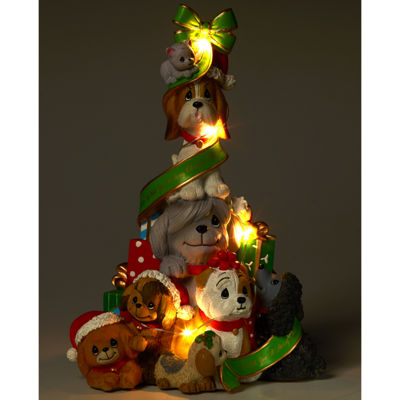 "Precious Moments  ""A Canine Christmas""  Lighted Resin Music Box  #171407"