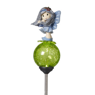 "Precious Moments  ""Flute Forest Fairy""  SolarGarden Stake  Metal/Glass/Resin  #171442"