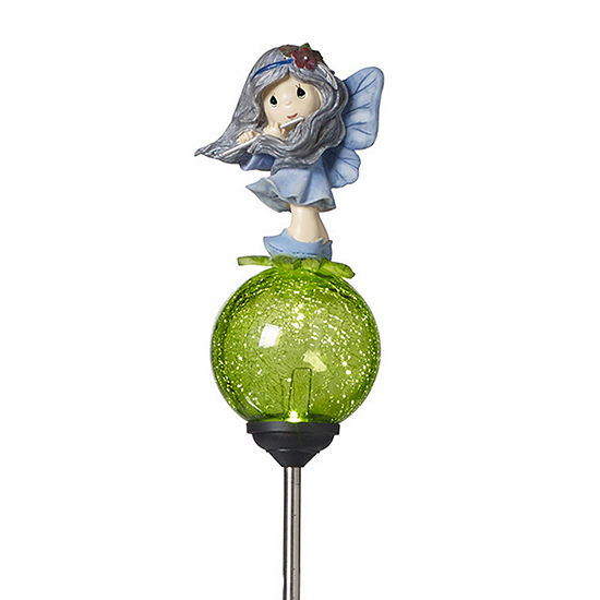 """Precious Moments  """"Flute Forest Fairy""""  SolarGarden Stake  Metal/Glass/Resin  #171442"""