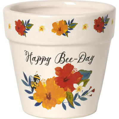 "Precious Moments  ""Happy Bee-Day""  Flower PotCeramic  #171495"