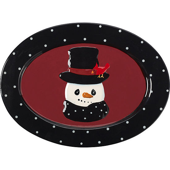 "Precious Moments  ""Snow Much Fun""  Snowman Platter  Ceramic  #171473"