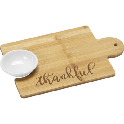 Bountiful Blessings by Precious Moments 171497 Thankful Puzzle Piece Bamboo Cutting Board 12-inches by 8-inches