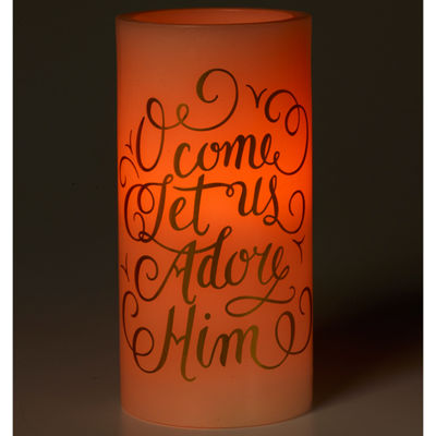 "Precious Moments  ""O Come Let Us Adore Him""  Flameless Candle  #171502"