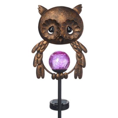 "Precious Moments  ""Lighted Owl""  Solar Garden Stake  Metal/Glass  #171443"