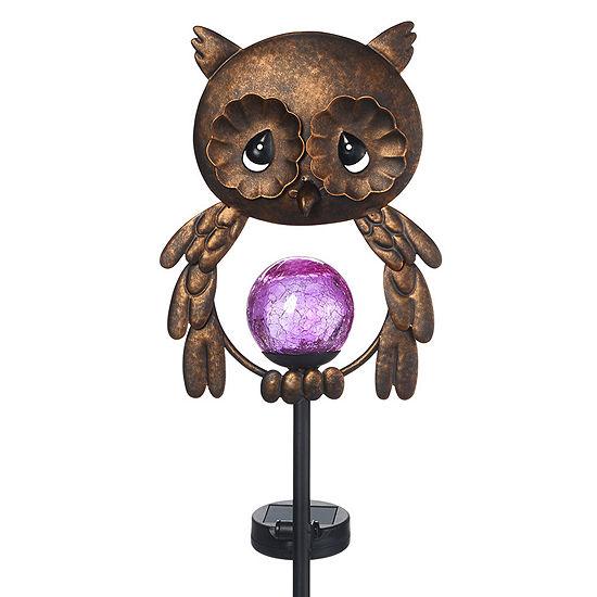 Precious Moments Lighted Owl Solar Garden Stake Metal Glass 171443