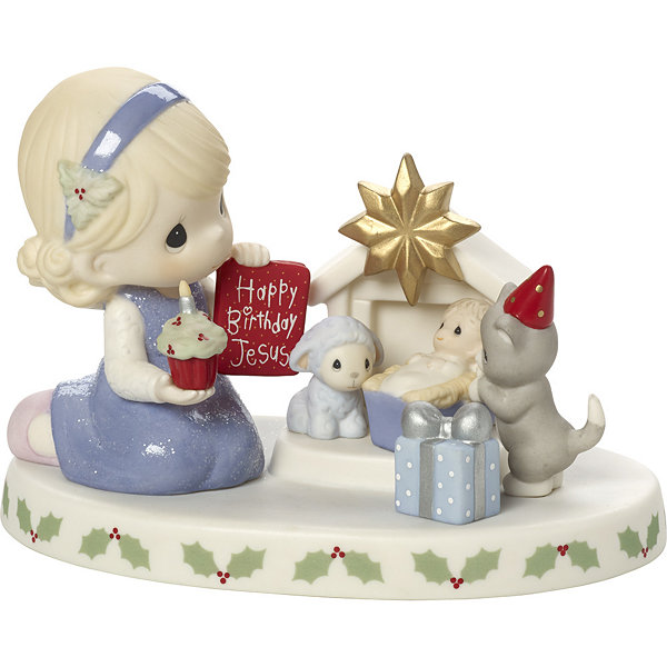 "Precious Moments  ""Happy Birthday  Jesus""  Bisque Porcelain Figurine  #171030"