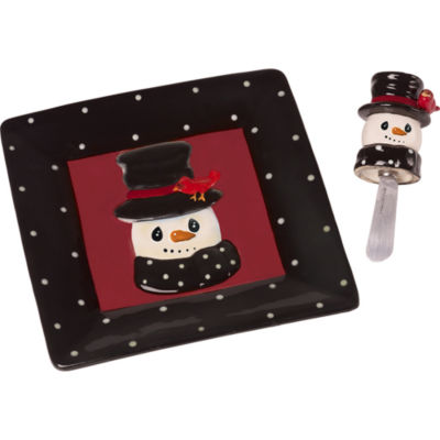 "Precious Moments  ""Snow Much Fun""  Snowman Cheese Plate And Spreader  Ceramic/Metal #171476"
