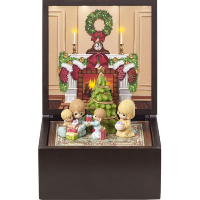 """Precious Moments  Heirloom """"Family Christmas""""Deluxe Music Box  Lighted #171106"""