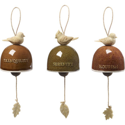"Precious Moments  ""Garden Delights Bird Trio""Set of Three Hanging Bells  Ceramic/Resin  #171458"
