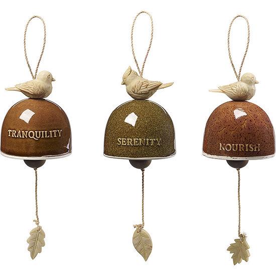 "Precious Moments  ""Garden Delights Bird Trio""Set of Three Hanging Bells  Ceramic/Resin  #171458"