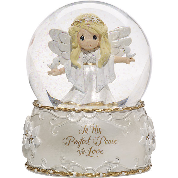 "Precious Moments  ""In His Perfect Peace And Love""  Seventh in Annual Angel Series  Resin/Glass Musical Snow Globe  #171107"