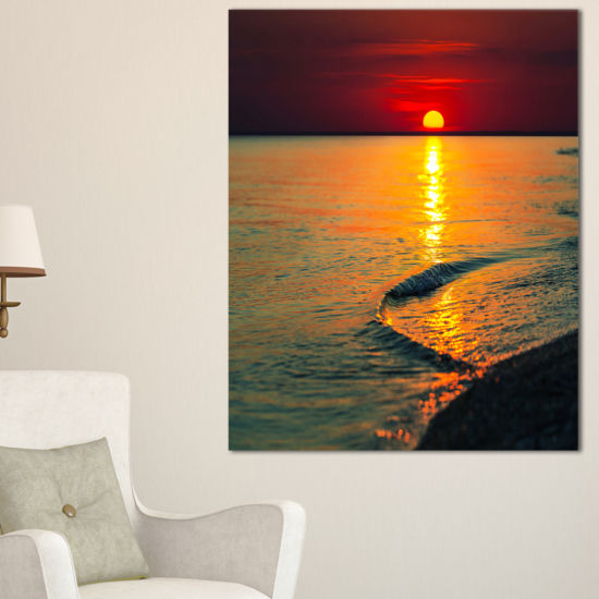 Designart Setting Sun Giving Color To Waters Canvas Art