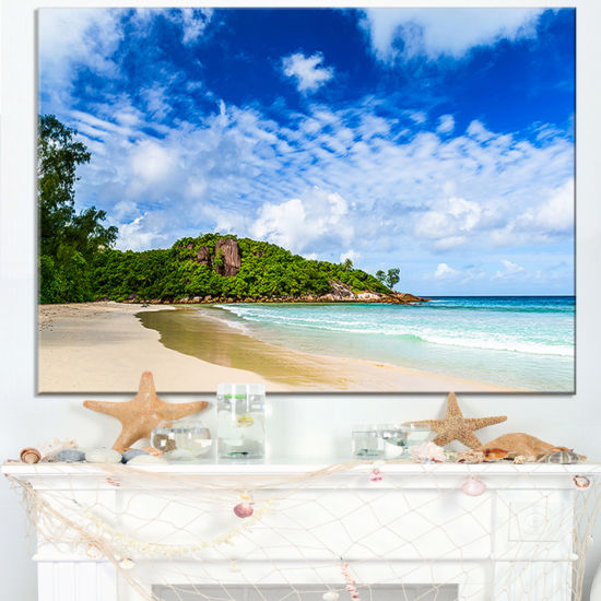 Designart Seychelles Tranquil Tropical Beach Canvas Art