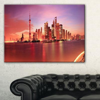 Designart Shanghai Skyline At Dawn Panorama Canvas Art