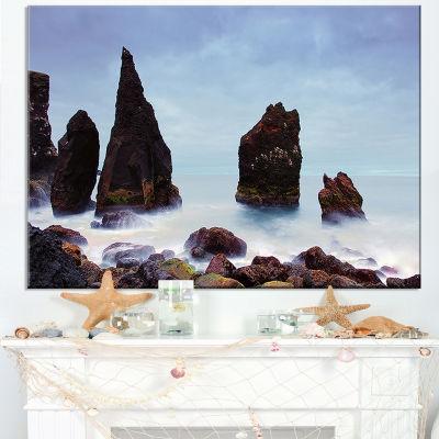 Designart Sharp Rocky Coastline Raykjanes Canvas Art