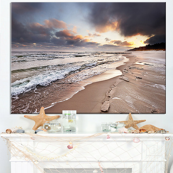 Designart Shore Of Baltic Sea During Winter Canvas Art