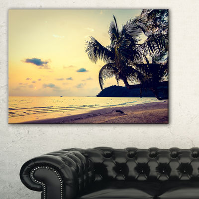 Designart Silhouette Coconut Tree Canvas Art