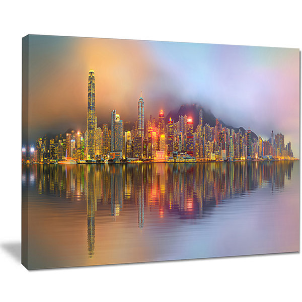 Designart Singapore Financial District Island Canvas Art