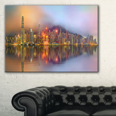 Designart Singapore Financial District Island Canvas Art