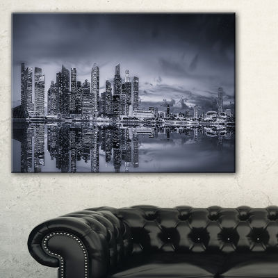 Designart Singapore Skyline And Marina Bay Canvas Art