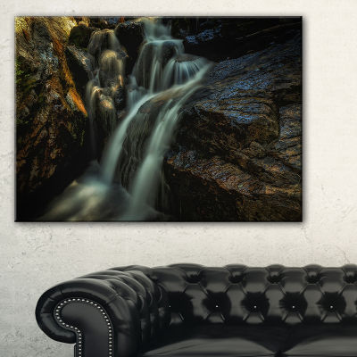 Designart Slow Motion Waterfall In Summer Canvas Art