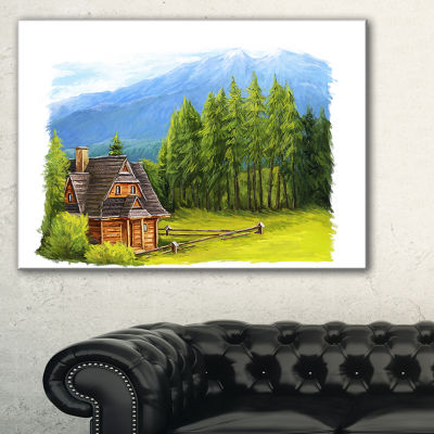 Designart Small Wooden Home In Mountains Canvas Art
