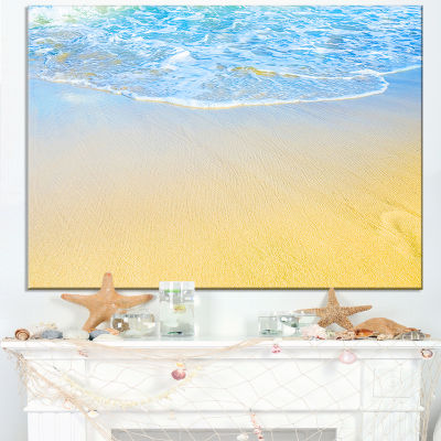 Designart Smooth Sea Surf Over Blue Waters Canvas Art