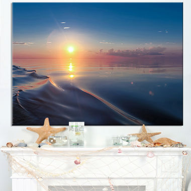 Designart Smooth Sea Surface Under Sunset Canvas Art